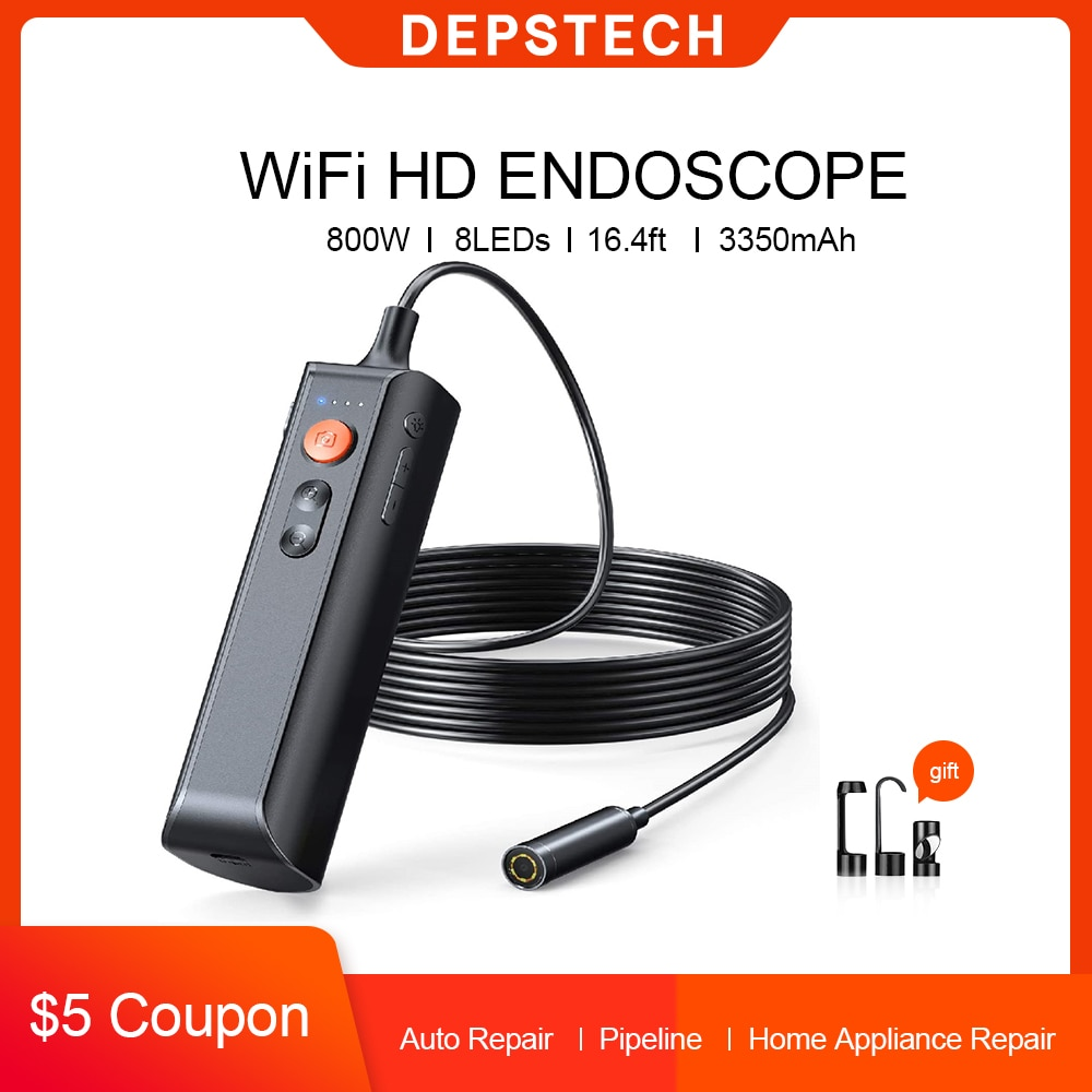 Promo DEPSTECH 8.0MP 5.0MP Industrial Endoscope HD Inspection Camera with 8 LED Lights IP67 WiFi Handhold Professional Snake Camera