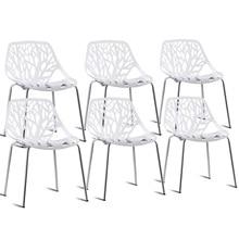 Conjunto de alta calidad de 6 acentos sillas laterales de comedor de plástico sin brazos silla blanca moderna HW59405-6