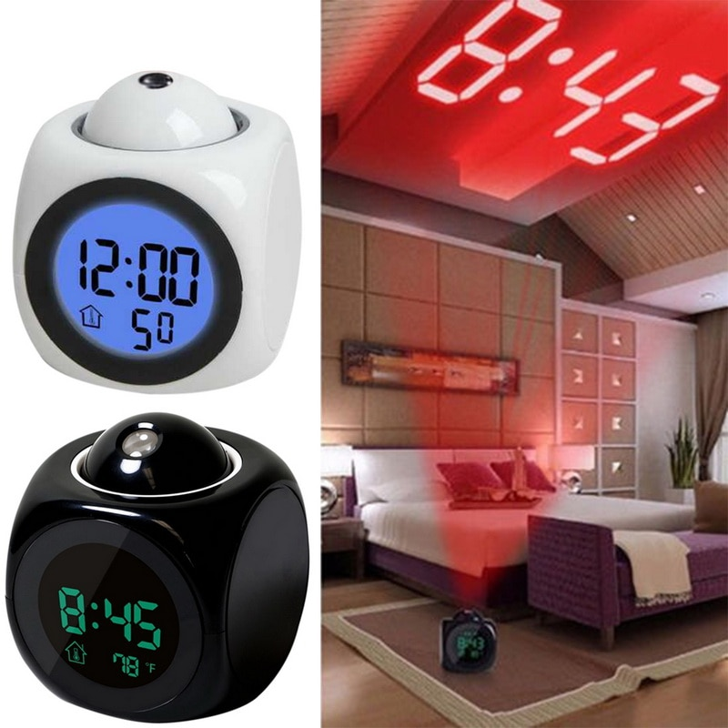 New Creative Attention Projection Digital Weather LCD Snooze Clock Bell Alarm Display Backlight LED Projector Home Clock Timer