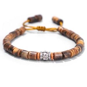 Handmade Natural Sander Wood With Tibetan Buddhist Amulet Om Mani Padme Hum Charm Bracelet For Man Women Lucky Bracelet