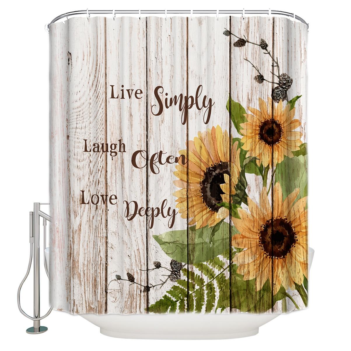 Retro girasol vivir simplemente reírse con frecuencia we love deeply de textura de madera de cortina de ducha, decoración con ganchos impermeable
