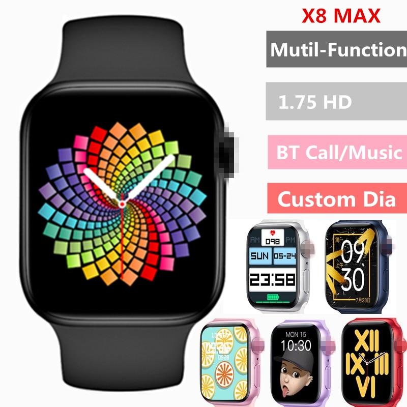 2021 Original X8 Max Smart Watch 1.75inch Custom Dia BT Call  Sports Sleep Monitor Heart-rate Men Woman iwo Smartwatch PK iwo13