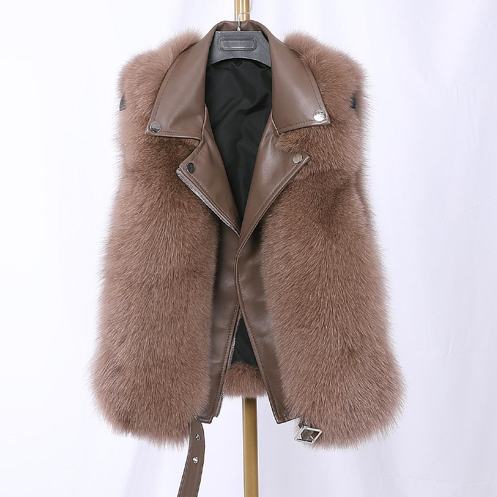 2020 New 100% Real Fox Fur Vest Sheepskin Autumn Winter Women Whole Skin Natural Fox Fur Waistcoat Gilet  Coat Sleeveless Jacket