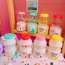 480ml Plastic Water Bottle Tour Drinking Bottle Yakult Shape Cute Kawaii Milk Carton Shaker Bottle f