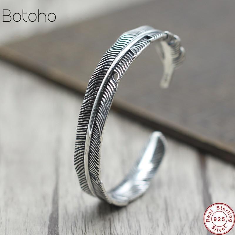 S925 argent Sterling couleur plume forme ouvert manchette Bracelet pour hommes femmes rondelle classique Style rétro bijoux vent indien