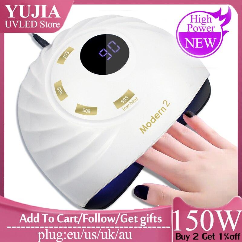 Moderna lámpara UV de 2 150W/120W, lámpara LED para uñas, secador de uñas con ventilador, luz solar para manicura, lámpara de Gel para uñas, secado para barniz de Gel