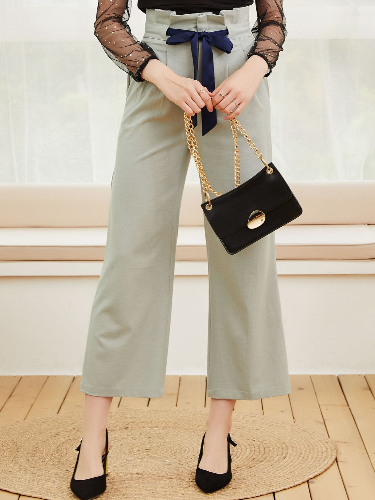 Strict brand women's clothing spring and summer 2021 new women's Capris straight pants high waist co