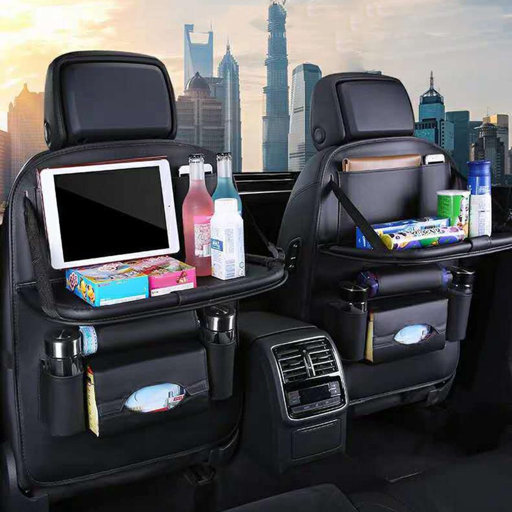 Bolsa organizadora para colgar asiento Multi-bolsillo para coche, estante plegable de cuero sintético