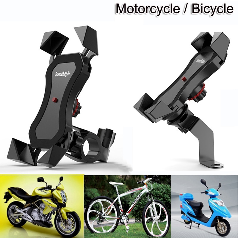 Motorcycle Bicycle Moto Bike Phone Navigation Holder Support handlebar Rearview Mirror Mount Clip Br