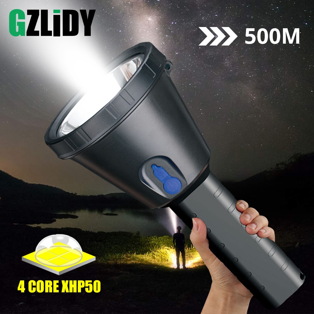 Waterproof XHP50 LED Flashlight Super Bright Rechargeable Torch 3 Lighting Modes Powerful Portable Searchlight Camping Light