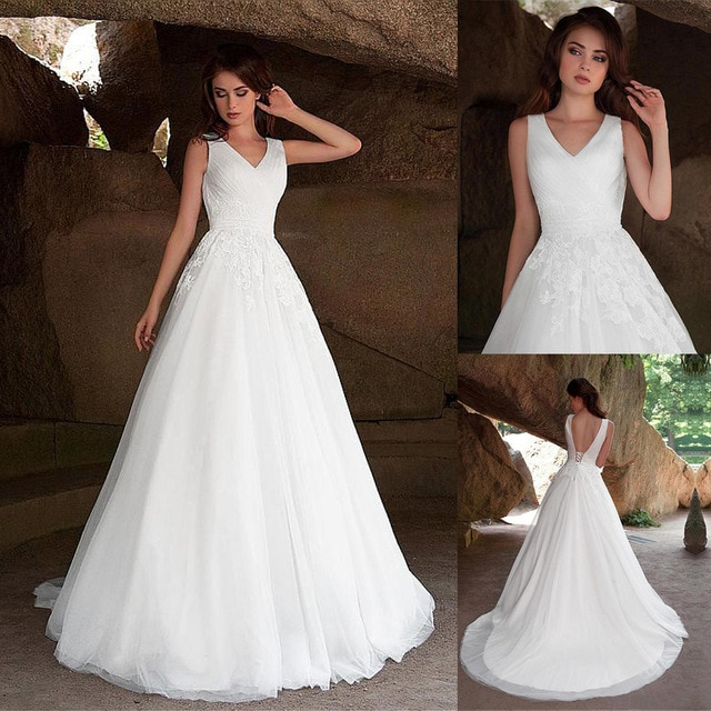 Vestido De Noiva a-line رقبة V فستان الزفاف زين دانتيل فستان الزفاف 2020 مخصص بدون ظهر ثوب زفاف سويب تراين