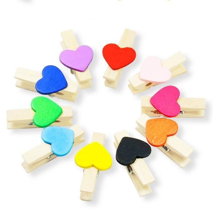 10 unidades/lote, diseño de corazón colorido, broches de Clip de madera para tarjetas para decoración de habitación y boda, Clip de soporte de imagen