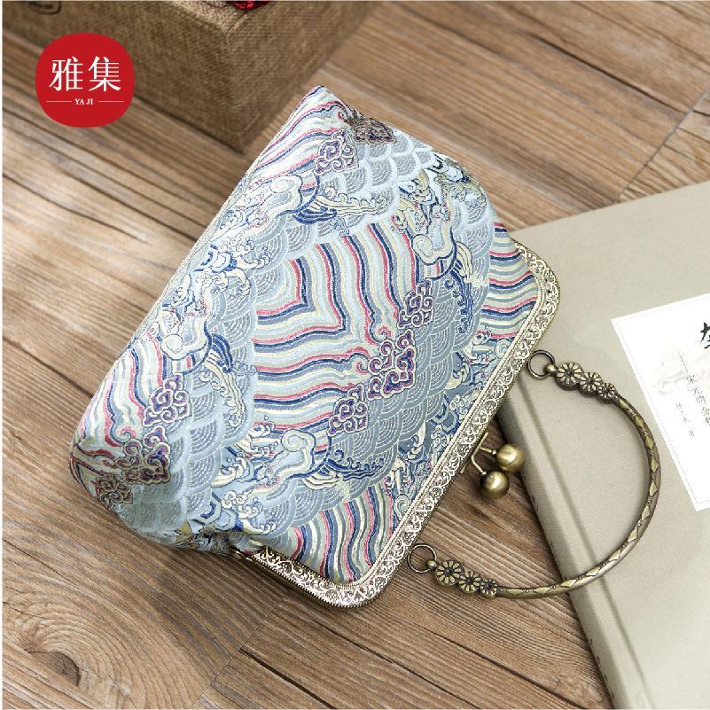 Handmade Custom Silk Brocade Retro Sea Cliff Pattern Cheongsam Bag Female New Portable Temperament Mouth Gold