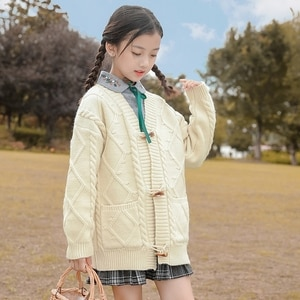 Spring Autumn Girls Sweaters Jacket Students Knitted Cardigan Warm Elegant Children's Coat Girl Tops Good Quality 6 8 12 16 20T