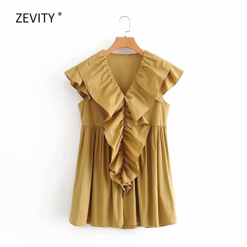 Novo 2020 mulheres v pescoço em cascata plissado sólido poplin vestido feminino borboleta manga casual plissados chiques mini vestidos ds3915