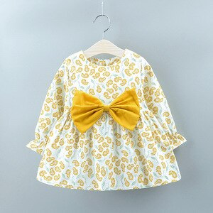 2020 Autumn new children's clothing casual elegant long-sleeved girls dress floral round neck girls princess dress 1-4 years old