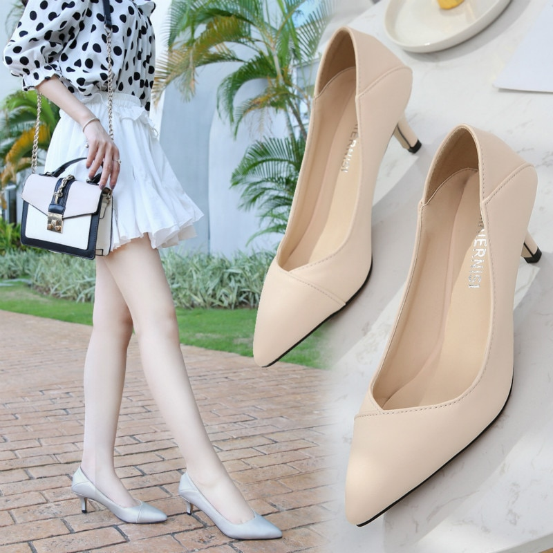 Fashion Plus Size Women Shoes 5cm High Heels Solid Four-seasons Wedding Casual Female Pumps Shoes Office Career Pointed Toe35-43