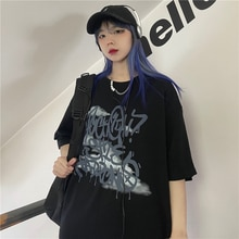 2021 Summer New Korean Style Dark Depressed Graffiti Letter Printing Loose Short Sleeve T-shirt Top