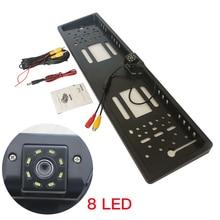 Cadre de plaque dimmatriculation européenne, caméra LED 8 lumières, cadre de plaque dimmatriculation européenne avec caméra de recul LED