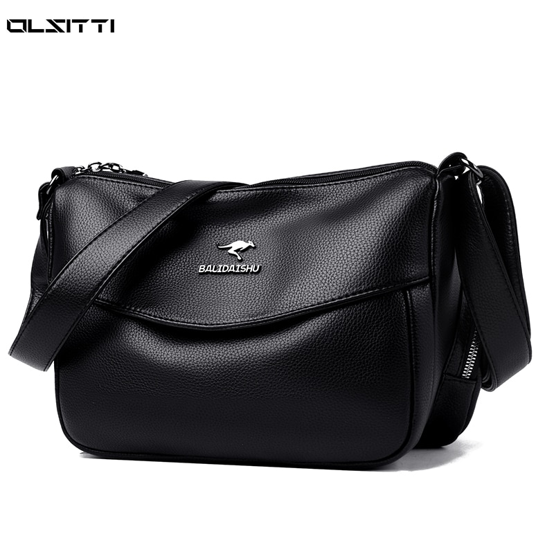Solid Color Leather Shoulder Bags for Women 2021 New Luxury Large Capacity Vintage High Quality Cros