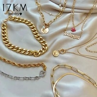 17km fashion asymmetric lock necklace for women twist gold silver color chunky thick lock choker chain necklaces party jewelry