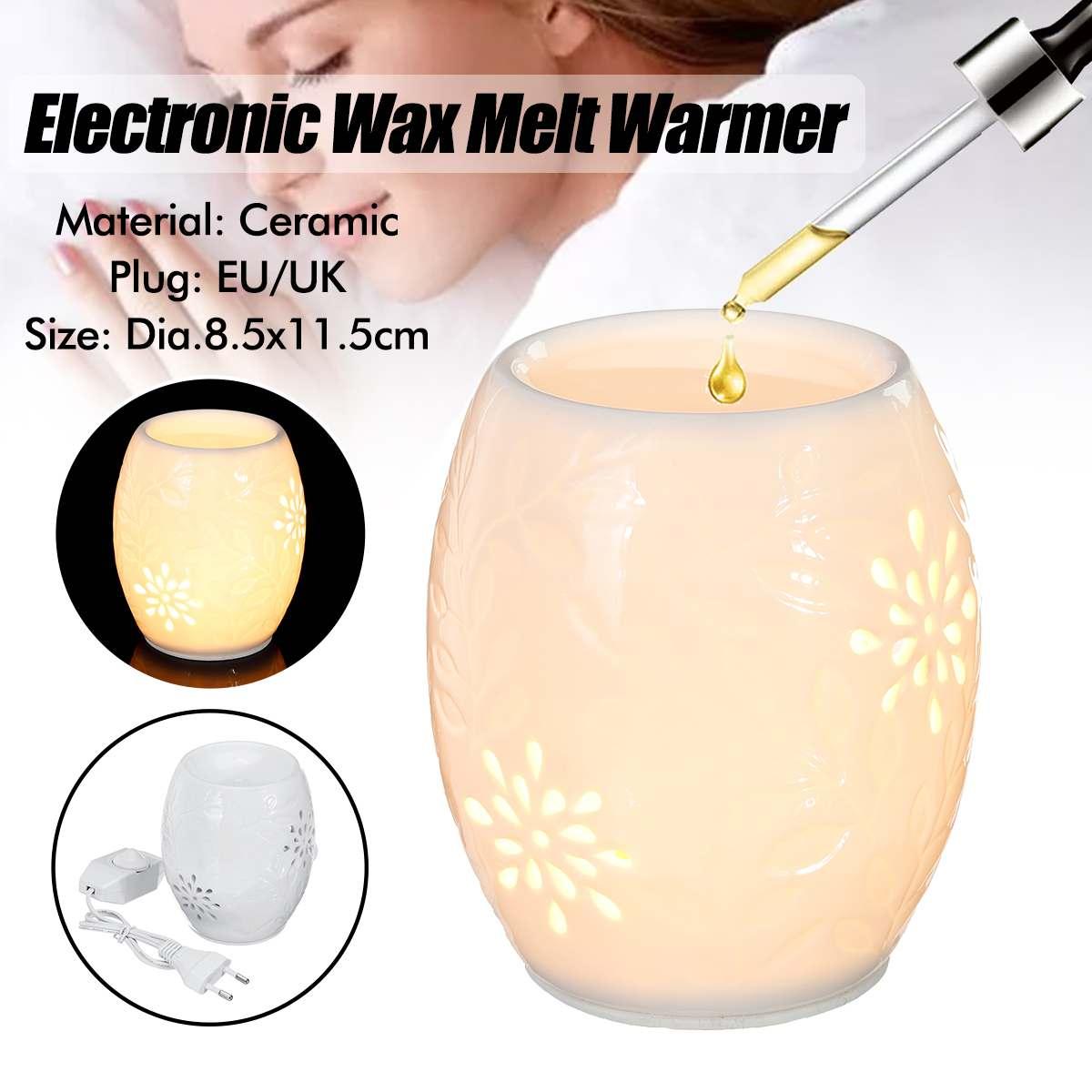 Eletrônico cerâmica aromaterapia sono yoga aroma queimador de óleo mais quente scented vela queimador cera derreter mais quente noite lâmpada ue/uk plug