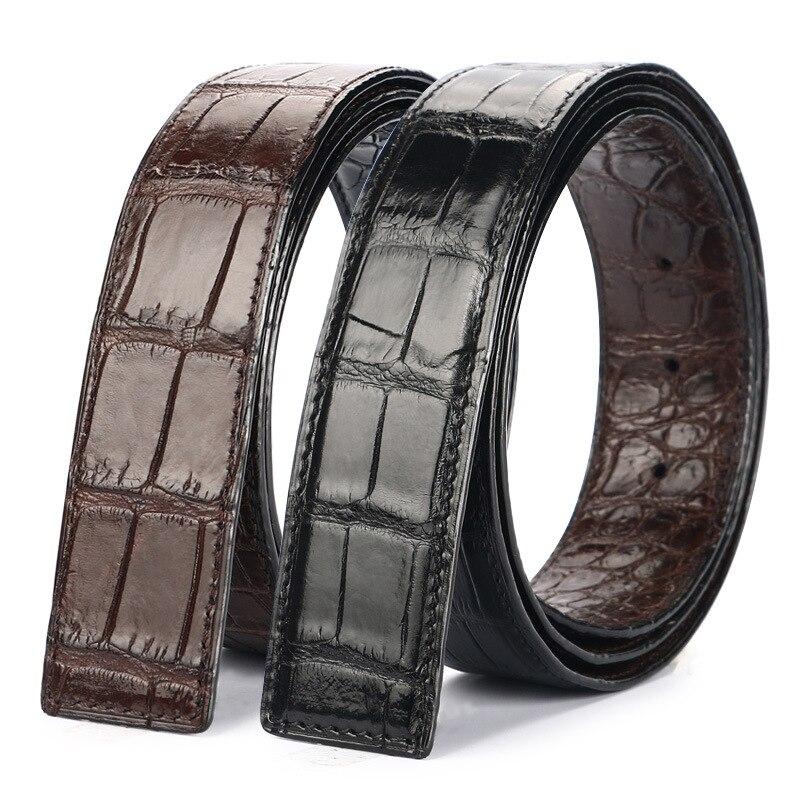 Double-sides Designer Authentic Real Crocodile Belly Skin Male Black Belt Without Buckle Genuine Alligator Leather Belts For Men