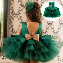 Girls Party Princess Dress Elegant Evening Bow Backless Sequin Birthday Tutu Dresses Kids Children W