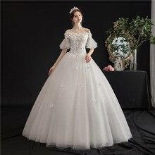 Robe de mariée élégante en dentelle, tenue de bal, épaules dénudées, col bateau, de princesse, Vintage, scintillante, H105, nouvelle collection 2021