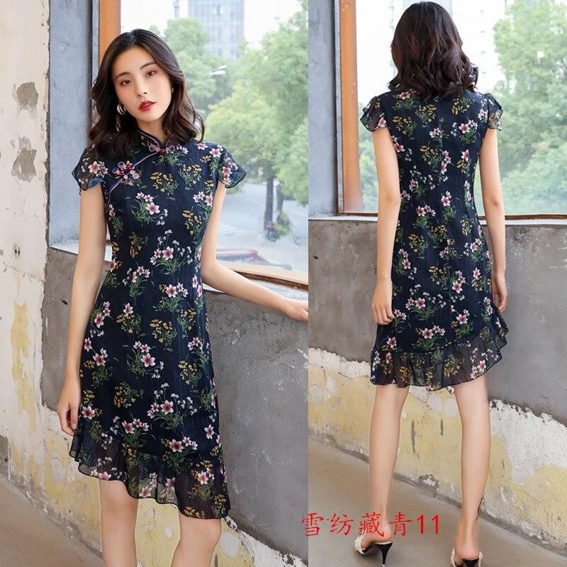 Весеннее женское сексуальное шифоновое платье с цветочным принтом в китайском стиле, вечернее платье Ципао ручной работы на пуговицах, винтажное платье Ципао M-3XL