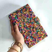 Bohemian  Stone Evening Bags Candy Color Rhinestones Day Clutch 2021 New Design Female Handbags Chai