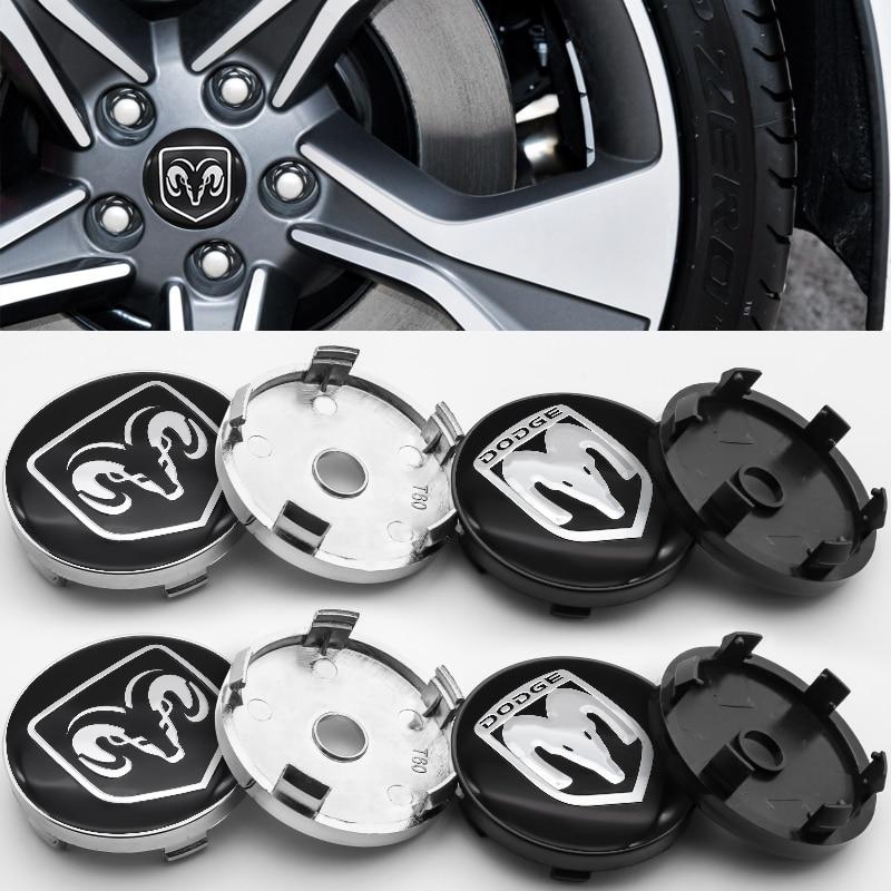 4 pçs 56mm e 60mm cubo centro da roda 3d capa logotipo adesivo decalques centro hub capa para dodge-carregador jcuv ram calibre durango