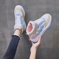 2021 autumn new korean style student leisure sports shoes womens trend high top board shoes womens small white shoes