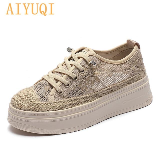 AIYUQI Fisherman Shoes Women Summer Platform 2021 Sll-match Casual Sneakers Shoes Women Korean Lace-up Ladies Shoes