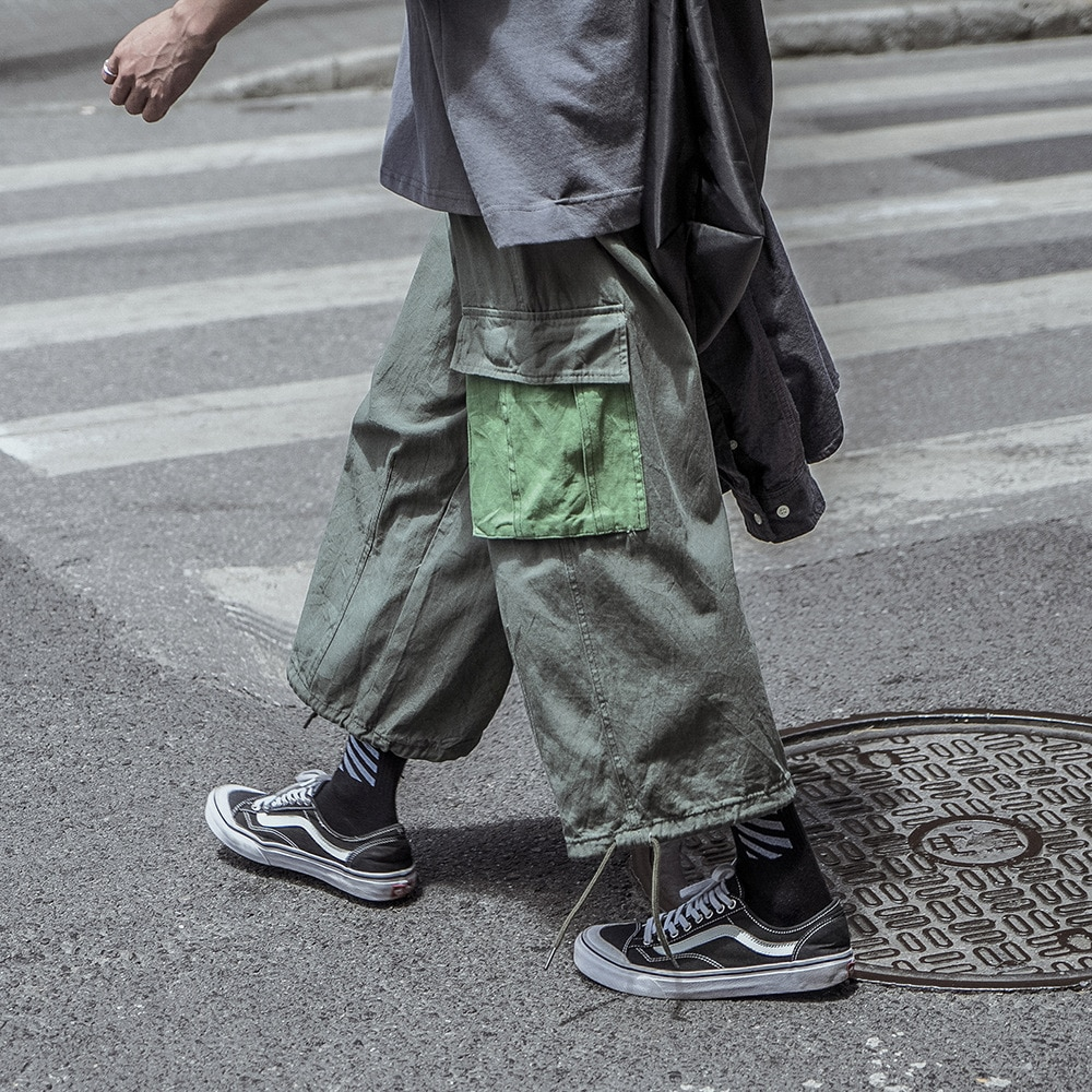Patchwork Cargo Pants Men's Loose Jogging Pants with Big Pockets Men Drawstring Stitching Sweatpants