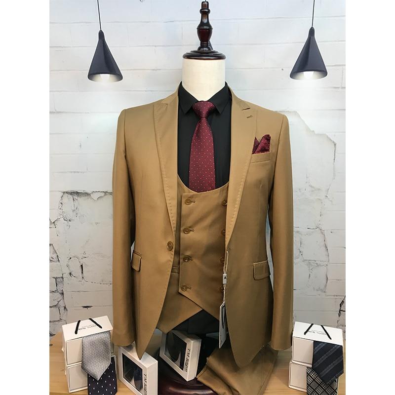 الذهبي الزفاف الرجال دعوى سليم صالح البدلات الرسمية صنع موضة جديدة بدلة عمل رسمية الرجال دعوى أوروبا حجم معطف السراويل سترة 3 Piec