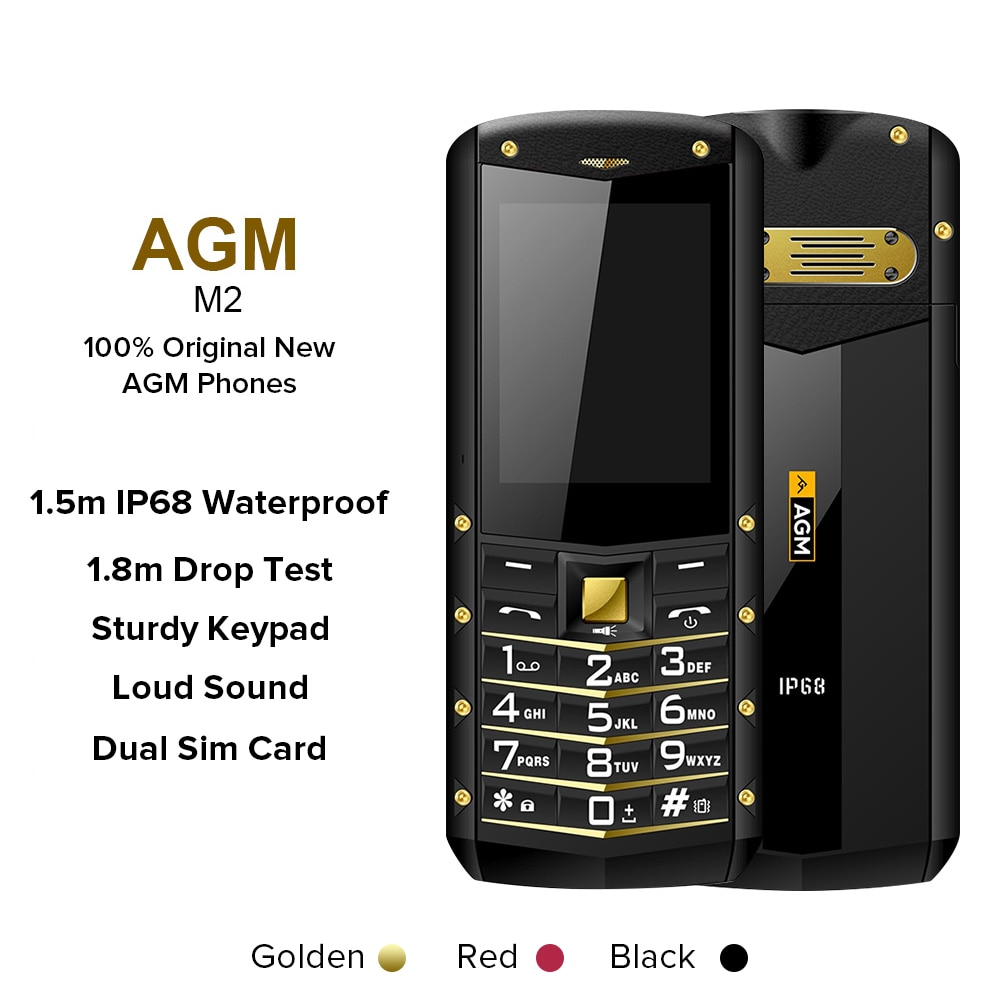 لوحة المفاتيح جوّال المهامّ الوعرة (متعدد اللغات) AGM M2 هاتف صغير بوصة ميزة في الهواء الطلق الهاتف IP68 صدمات ضغط على زر الهواتف GSM الهاتف