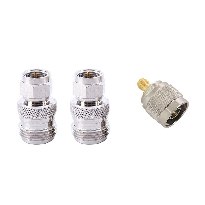 ¡Oferta! 2 uds conector N conector hembra a adaptador de antena enchufable Rf tipo F macho y 1 Uds N macho a conector Jack adaptador Sma hembra