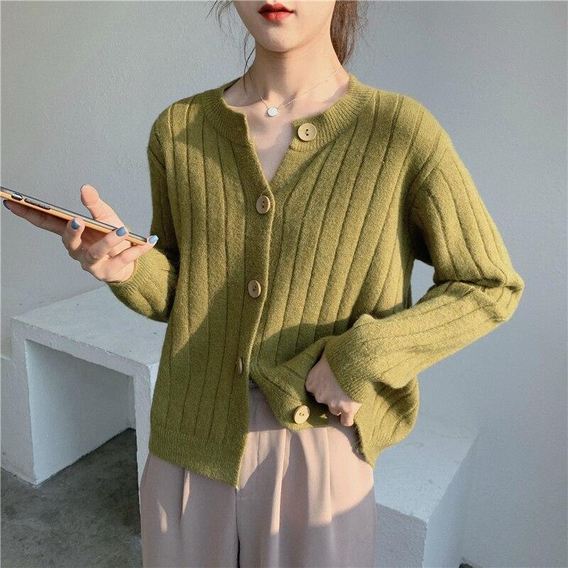 Корейский винтажный кардиган, женская одежда, весна-осень 2021, свитер в стиле High Street на пуговицах, Женский Топ, женский свитер