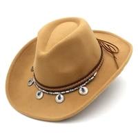 mistdawn western cowgirl cowboy unisex adult new top fashion jazz panama wide brim cap solid felt fedora outdoor classic hat