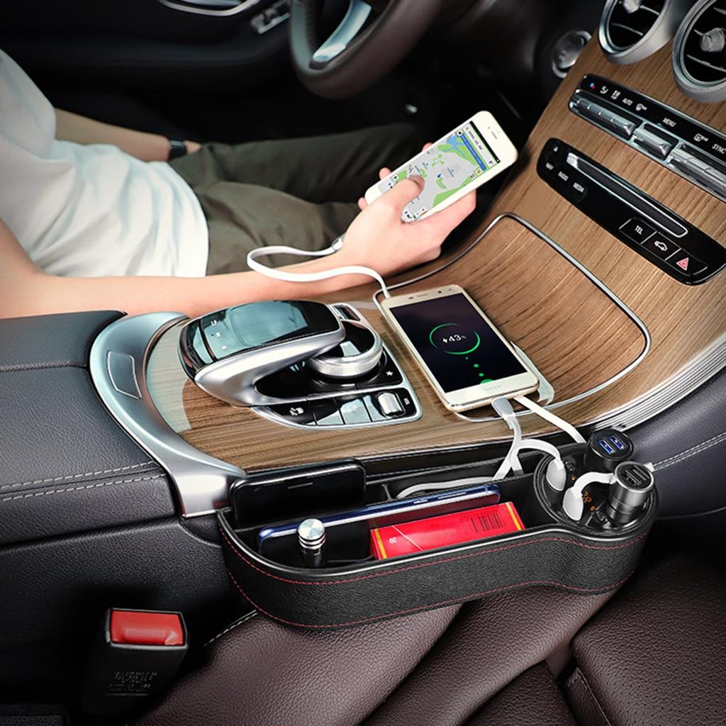 De almacenamiento para hueco de asiento de coche de lateral para asiento de coche con bolsillo Usb encendedor de cigarrillos de puerto de carga # yl10