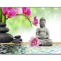 Peinture strass theme orchidees et bouddha  broderie 5d  mosaique  point de croix  decoration dinterieur  bricolage