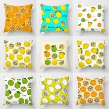 Impression Double face Polyester housse de coussin personnalisée bleu jaune couleur changeante citron Orange fruits Art déco automne oreillers étui