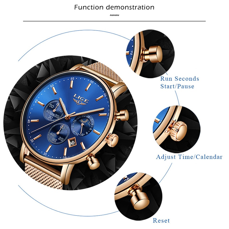 2021 new Ladies Quartz Watch Women Dress Watches Luxury  Stainless Steel Mesh Band Rose Gold Waterproof Ladies Watch reloj mujer enlarge
