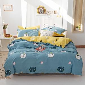 Home Textile Cartoon Warm Thickening Duvet Cover Pillowcase Bed Sheet  Bedding Set 3/4pcs Single Double Bedline Dropship