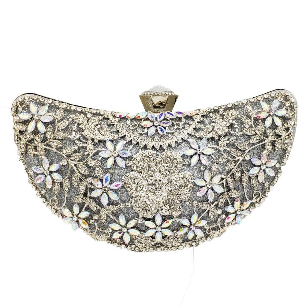 Flor dupla flores feminino metal embraiagens bolsas de noite e bolsas festa de casamento nupcial cristal floral saco ouro  silver