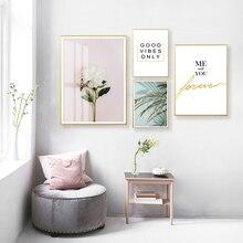 Toile daffiches imprimées   Fleurs modernes, feuilles vertes, mots damour, photos murales dart pour salon, cuisine, décor de maison