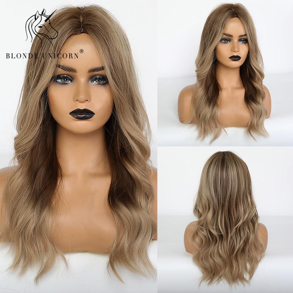 شعر مستعار صناعي متوسط الطول للنساء ، شعر مستعار طبيعي مموج مع انعكاسات بنية اللون للنساء السود والأبيض ، مقاوم للحرارة
