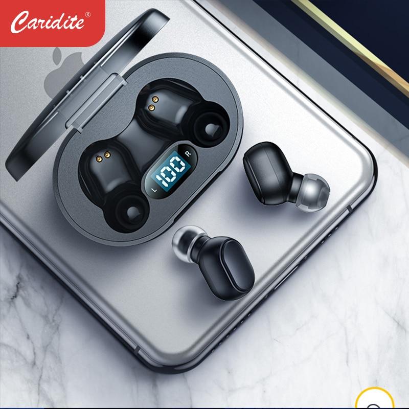 Caridite I7 TWS سماعة بلوتوث ، سماعة رأس لاسلكية ، سوبر باس ، ستيريو ، شاشة LED رقمية ، سماعة رأس محمولة