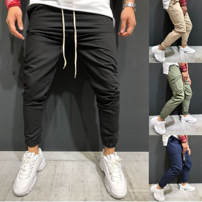 Autumn Cargo Pants Men Casual Military Sweatpants Patchwork Drawstring Trousers Army Pants Joggers Pants pantalon homme 2019 New